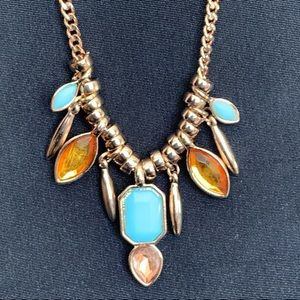 Nicole Miller Gold Tone Blue & Yellow Necklace
